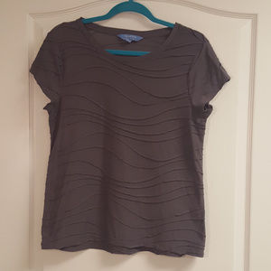 Simply Vera Gray Wave Texture T shirt